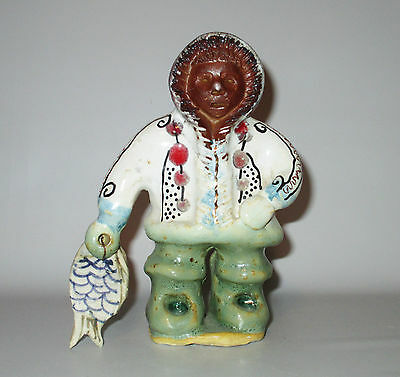 Studio Pottery Figurine Inuit Eskimo Fisherman With Fish Hand Made Painted