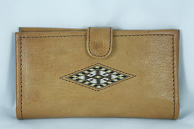 Vtg Handmade Recycled Leather Wallet Southwest Woven Inset Design