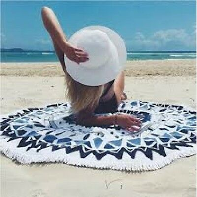 Luxury Edition Thick Microfiber Round Beach Towel - Blue/white As Seen On Tv