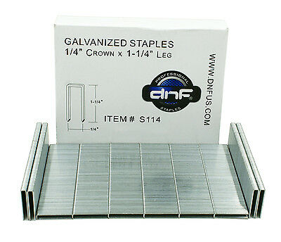 "DNF Galvanized Staples 1/4"" Crown 1-1/4"" Leg (30,000/ Case) - SHIPS FREE TODAY!"