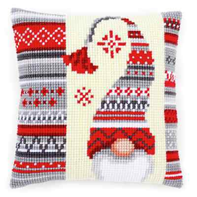 Elf 2 with Hat - Large Holed Printed Tapestry Canvas Cushion Kit - Cross Stitch