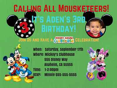 Mickey Mouse Personalized Birthday Invitations Digital or Printed – Mickey Mouse Clubhouse Birthday Invites