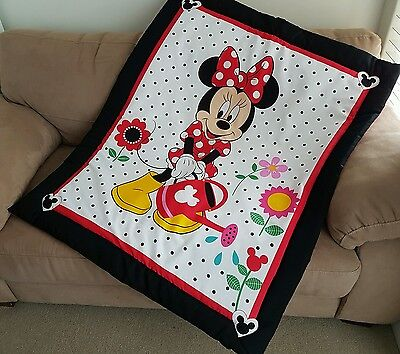 Minnnie Mouse Garden Cot Quilt or Playmat Handmade NEW
