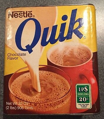 Vintage 1970s Quik Chocolate 32 Oz Container Of Pure Cocoa Half Full Contents