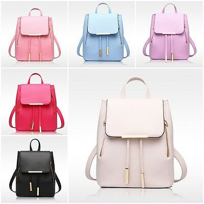 New Women Girl Backpack Travel PU Leather Handbag Rucksack Shoulder School Bag