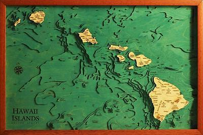 GeckoArt | Hawaii Quadro Mappa 3D in legno 100% Made in Italy Laser cut
