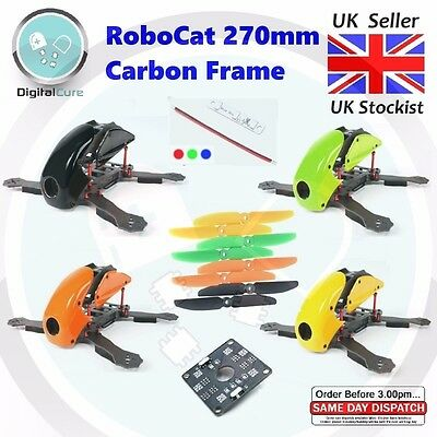 RoboCat 270mm Carbon Fiber Quadcopter Frame + PDB + LED Strips - Naze32 FPV