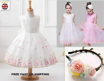 Flower Girl Rose Embroidery Lace Wedding Dress Bridesmaid Formal Party 4-9Y