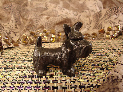 "Vintage Small METAL SKYE TERRIER SCOTTY DOG Figurine 2 1/8"" T   #ST4"