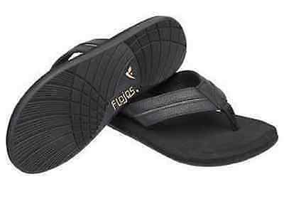Nwt Mens Flojos Ryder Black Flip Flops Sandals Leather Thong Cushioned All Sizes