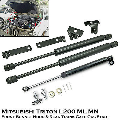 Front Bonnet+Rear Trunk Gas Shock Strut Damper For Mitsubishi Triton L200 05-14