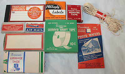 Vintage 1950's 60's  mostly unused DENNISONS office supplies  great for props