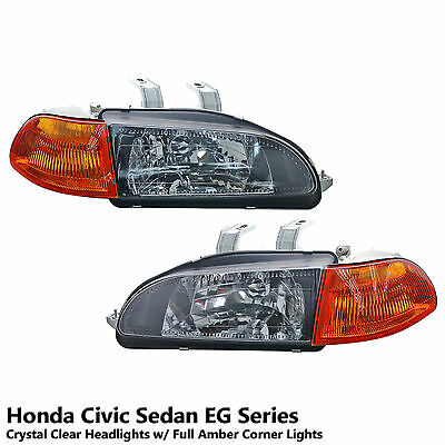 Diamond Cut Clear Lens Headlight+Amber Corner Fits Honda Civic Sedan EG8 EG9 EH9