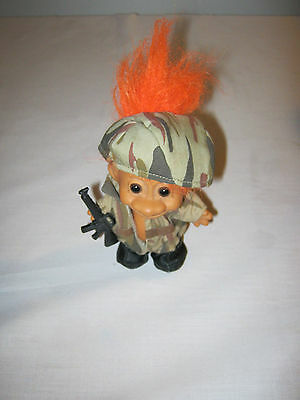 Soldier Troll Collectable 1990's one owner Army Camo Orange hair Commando
