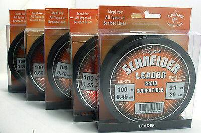 Schneider Monofilament Fishing Leader 100 metre spool BRAND NEW