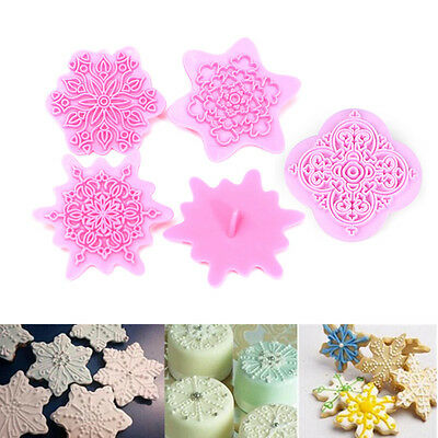 5Pcs Floral Snowflake Flower Fondant Cake Cutter Cookies Decor Pastry Mold Stamp