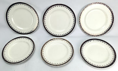 Vintage Alfred Meakin England Dinner & Bread Plates 6 Piece Red & Gold Filigree