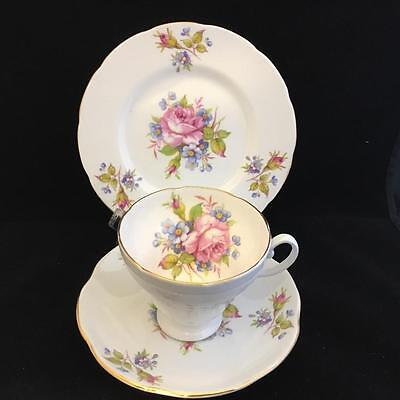 FOLEY BONE CHINA  PALE GREY cup saucer and plate VINTAGE