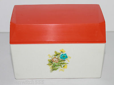 Orange White Salt Box Floral Recipe Cards Plastic Hinge Lid Collectable Vintage
