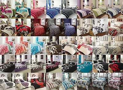 Duvet Cover Set With matching Fitted Sheet Quilt Bedding Single Double King Size