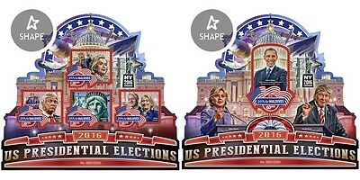 Z08 IMPERFORATED MLD16510ab MALDIVES 2016 US Election Clinton Trump MNH Set