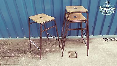 1 x Beautiful 70s Vintage Industrial Grammar School Stacking Stool Cafe Diner