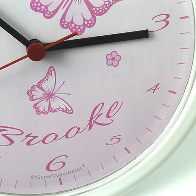 CHASING BUTTERFLIES childrens bedroom WALL CLOCK option to personalise