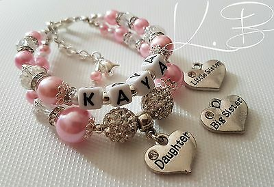 Girls Personalised Double Row Shamballa Bracelet *Big/Little Sister/Daughter*