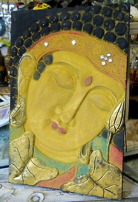 AMAZING WOODEN THAI BUDDHA FACE WALL ART PLAQUE SIZE 40 x 30 cm ...
