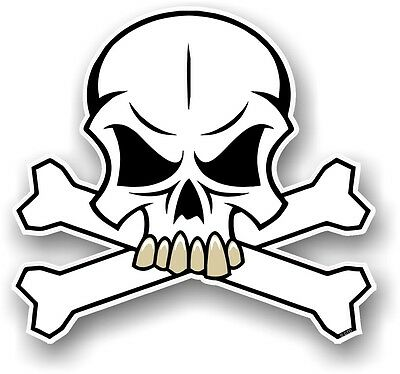 SKULL & CROSSBONES Design & WHITE Colour Pirate Motif Vinyl car sticker decal