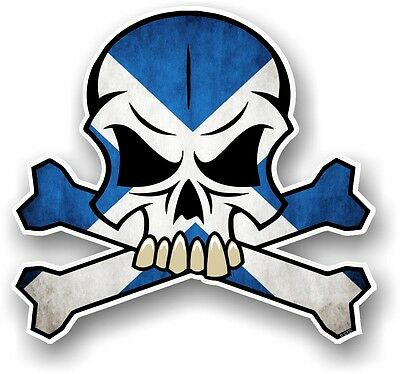 SKULL & CROSSBONES Design & Scotland Scottish Saltire Flag car sticker decal