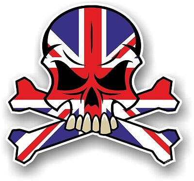 SKULL & CROSSBONES Design & Union Jack British GB Flag vinyl car sticker decal