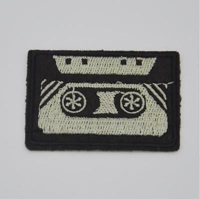 Cassette tape retro seventies music Embroidered applique iron-on patches Sewing