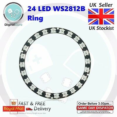 24 LED RGB WS2812B Ring 5050 Integrated Drivers Arduino NeoPixel Car PIC
