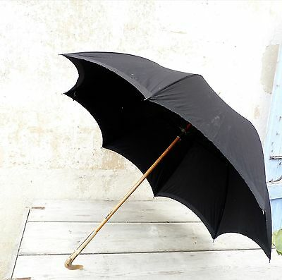 Antique 1900 French large black cotton rain umbrella with horn handle