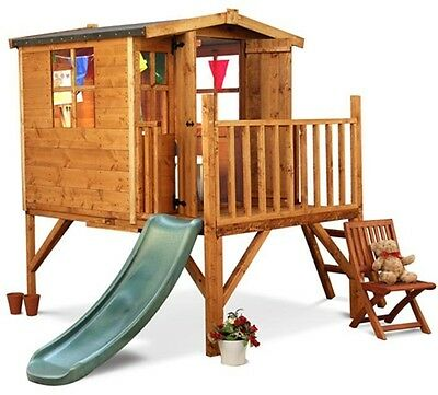 Childrens Wooden Playhouse Treehouse Tower Kids Play Slide Veranda Role Play NEW
