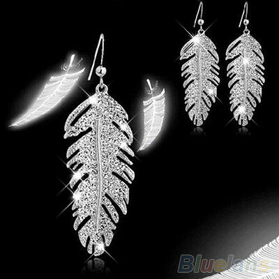 Long Leaf Drop Earrings Silver Diamante Crystal Rhinestone Dangle Sparkly Party