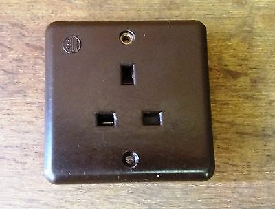 Vintage 1940's Brown Bakelite Old Square Socket - Architectural Antiques