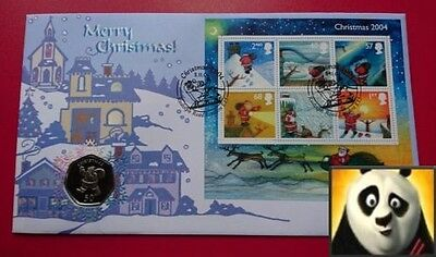 1998 GIBRALTAR Christmas 50p Fifty Pence Santa in Chimney Coin Card