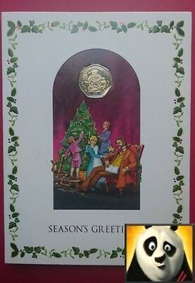 1999 GIBRALTAR Christmas 50p Fifty Pence Santa and the Apes Coin Card