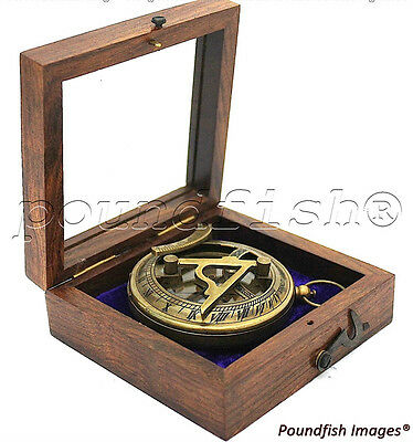 Solid Brass Nautical Sundial & Compass With Hardwood Box