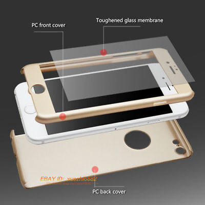 Hybrid 360° Hard Ultra thin Case + Tempered Glass Cover For iPhone 5 6 6s 7 Plus