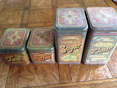 Vintage Tin Canisters Set of 4 CRYSTAL CANE