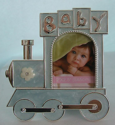 """Silver Plated Baby Boy Photo Frame in blue train photo size 2"""" x 2.5"""""""