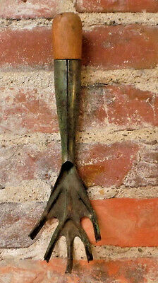 "Vintage Primitive Wood & Metal Garden Claw Fork Green 11"" Old Farm Hand Tool"