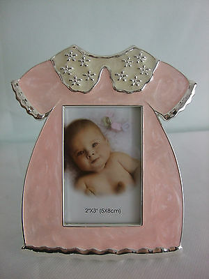 """Silver Plated Baby Girl Photo Frame in Pink Dress photo size 2"""" x 3"""""""