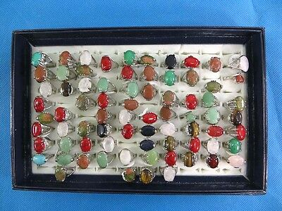 US SELLER-lot of 100 wholesale gemstone rings and agate stone fashion rings