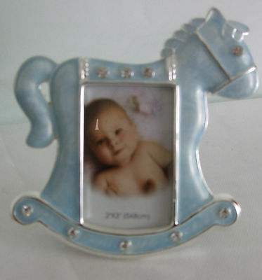 """Silver Plated Baby Boy Photo Frame in Blue Rocking Horse photo size 2"""" x 3"""""""