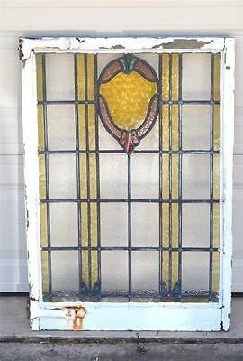 "Antique Leaded Stained Glass Window in Wood Frame 28"" x 39"" Art Deco"