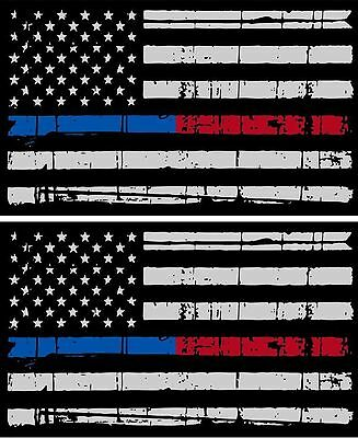 "Tattered Police & Fire Thin Blue/Red Line reflective American Flag Decal 3"" x 5"""